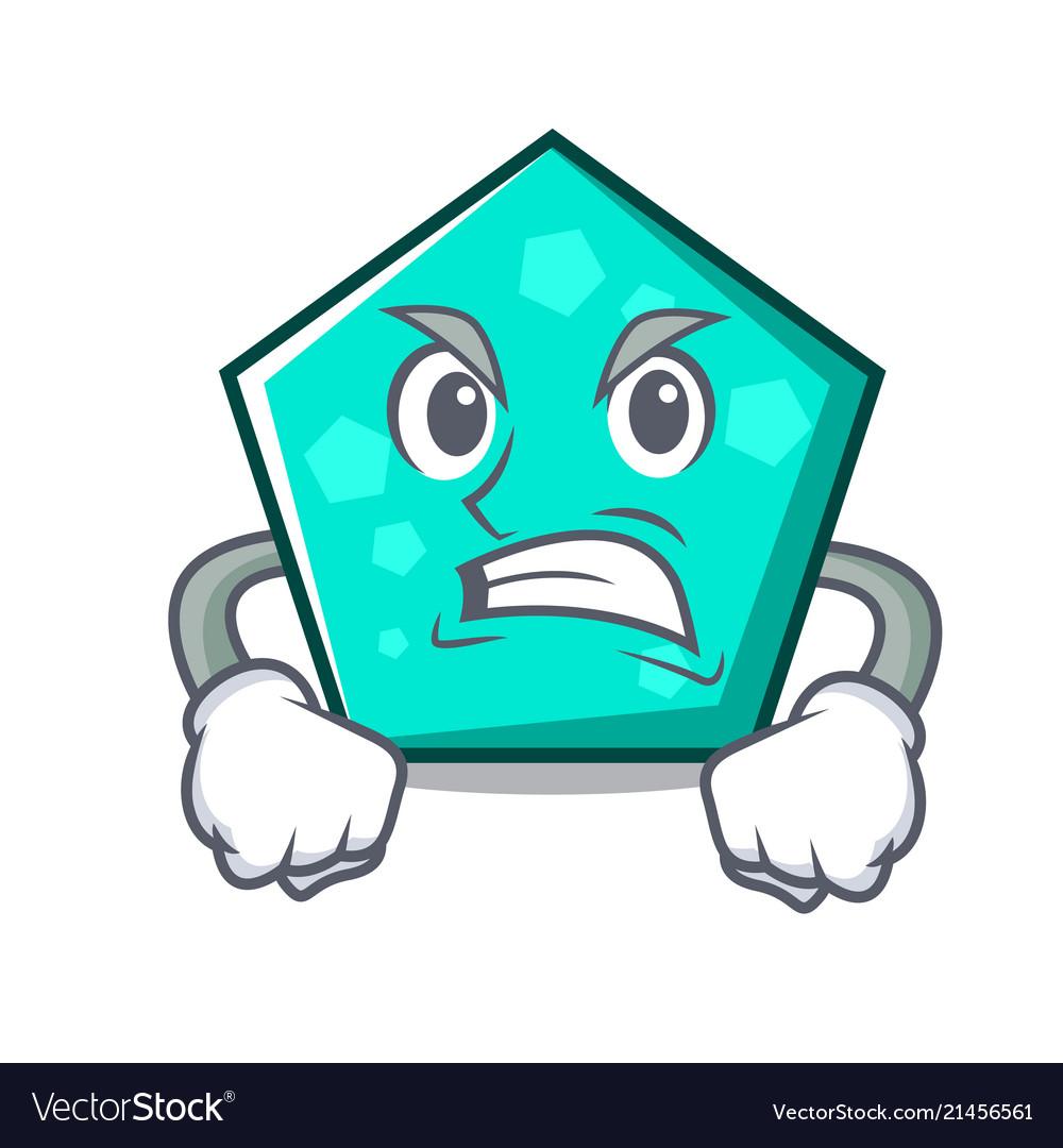 Angry pentagon mascot cartoon style.