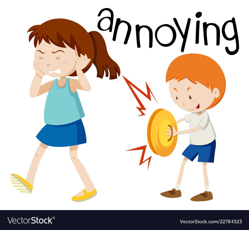 Young boy annoying girl.