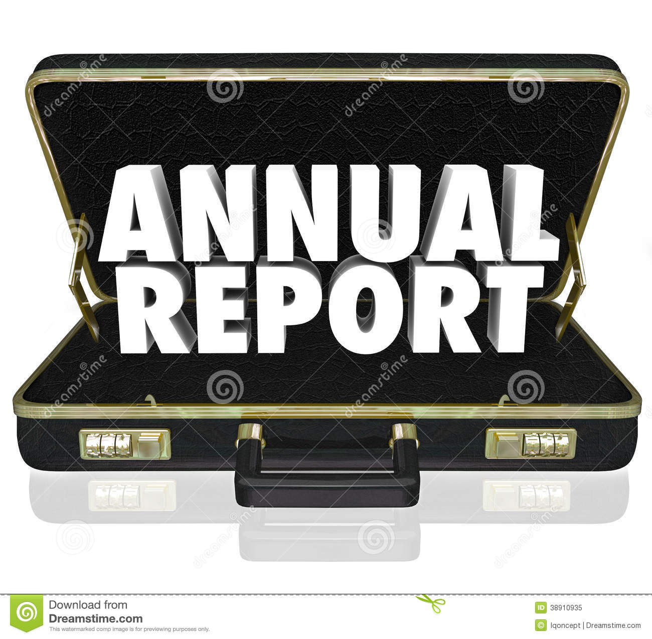 Annual Report Briefcase Words Financial Statement Stock.