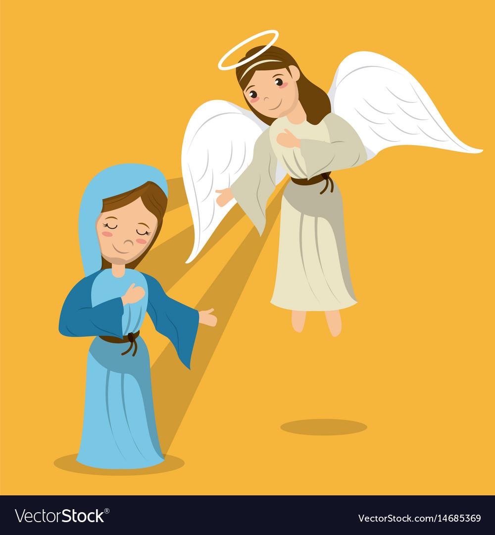 Virgin mary with angel annunciation scene.