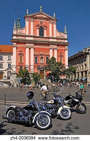 Stock Photo of Ljubljana, Slovenia. Harley Davidson Motorbikes.
