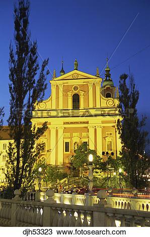 Stock Photo of Slovenia, Ljubljana, Preseren Square, Triple Bridge.