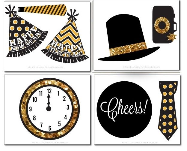 New Year´s Eve: Free Printable Photo Booth Props..