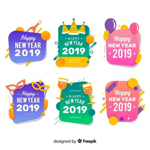 Colección chapas de año nuevo 2019.