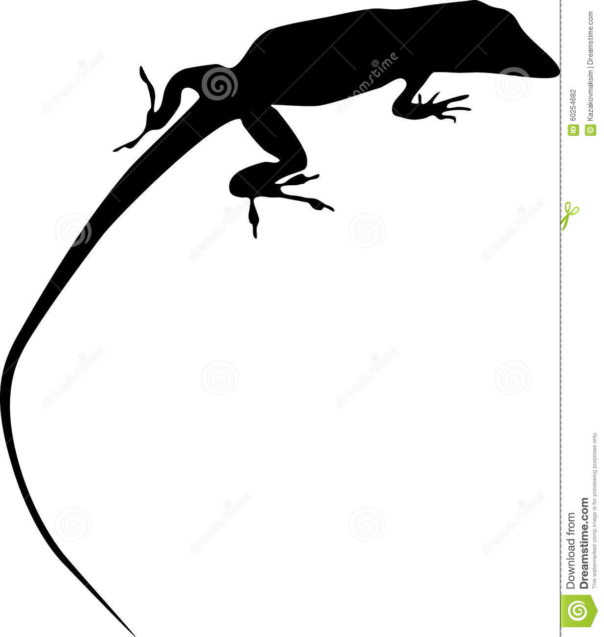 Silhouette Of Anolis Stock Vector.