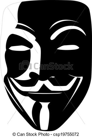 Vectors Illustration of black mask anonymous vector.