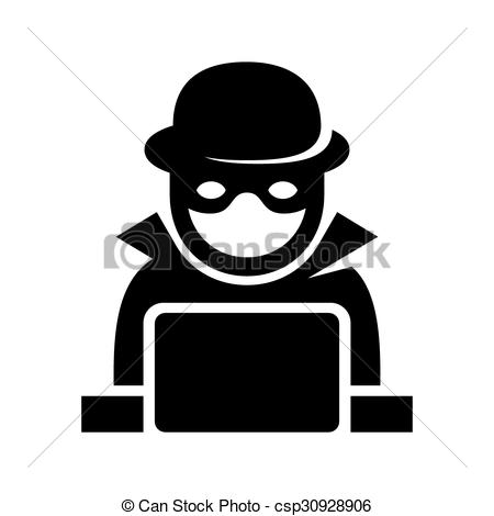 Vector Clipart of Anonymous Hacker Spy Icon Searching on Laptop.