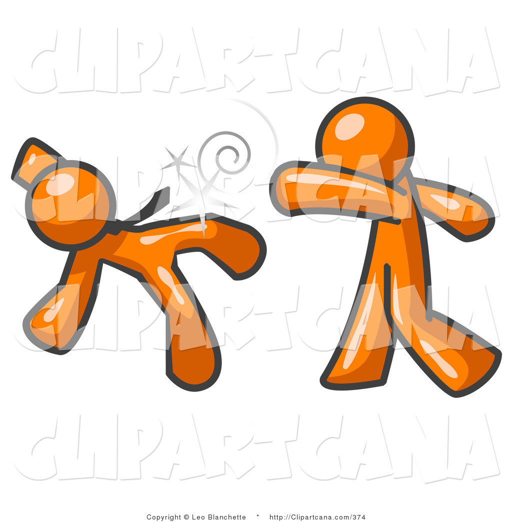 Vector Clip Art of an Orange Man Being Punched by Another in a.