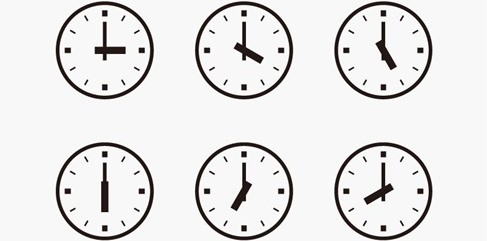 Set of Wall Clocks With Another Times.