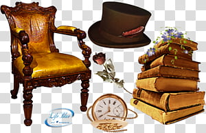 From another time, pocket watch, chair, hat, rose flower.