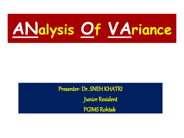Analysis of variance (ANOVA).