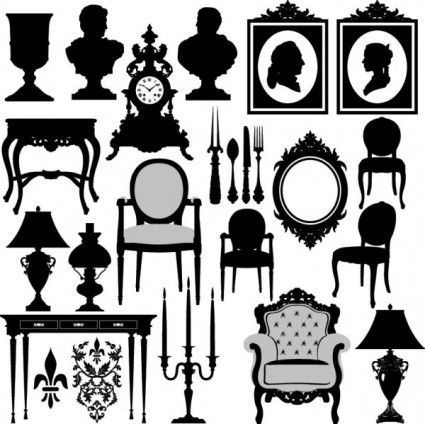 Antique furniture black and white silhouette.