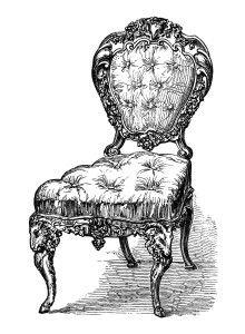 vintage chair clip art, black and white clipart, antique.