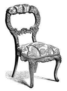Antique Chair ~ Free Clip Art Engraving #4.
