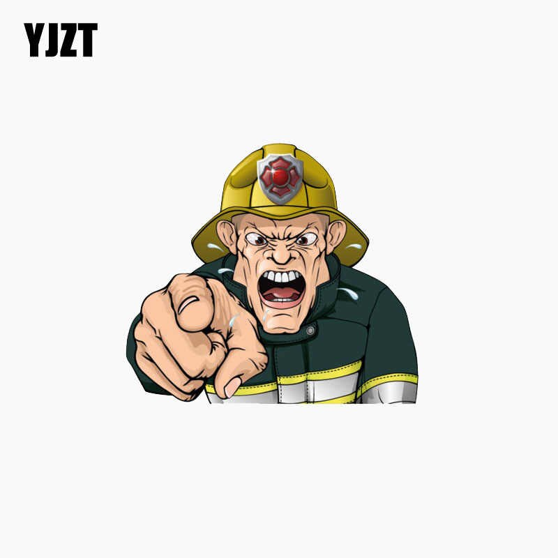 YJZT 11.3CM*10.1CM Reflective Car Sticker Angry Firefighter.