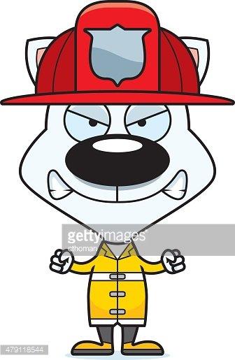Cartoon Angry Firefighter Kitten Clipart Image.