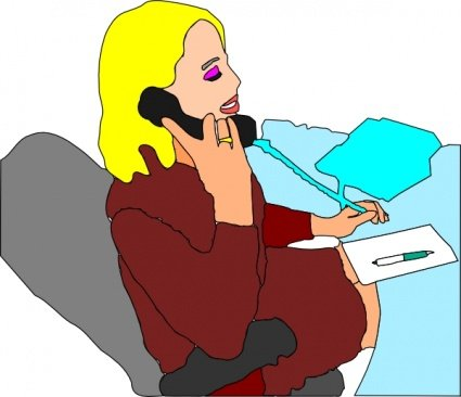 Secretary Answering Phone Clipart Picture Free Download.