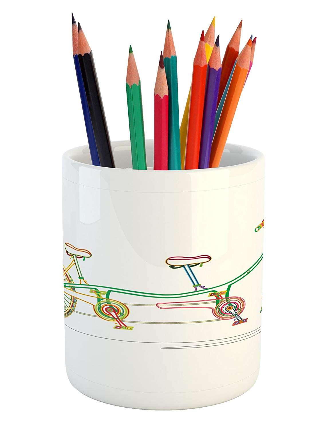 Amazon.com : Ambesonne Bicycle Pencil Pen Holder, Colorful.