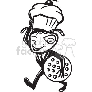 black and white ant carry cupcake cookie clipart. Royalty.
