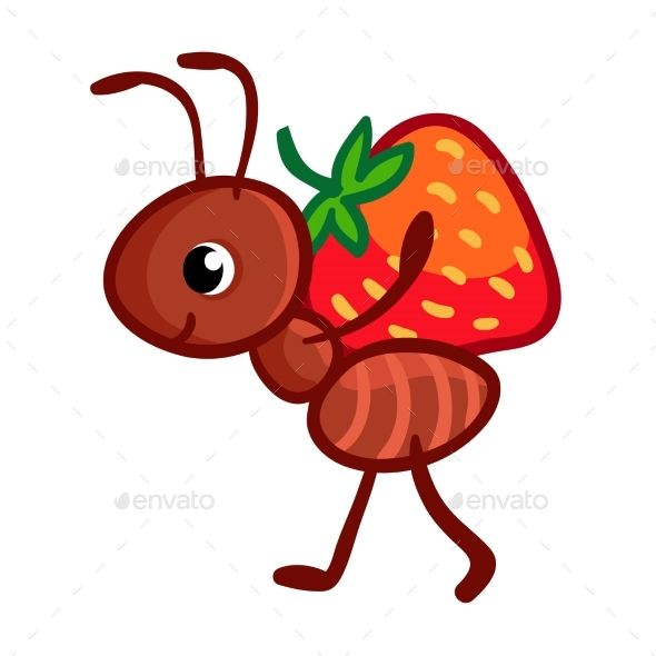 Vector illustration with an ant that bears on itself a.
