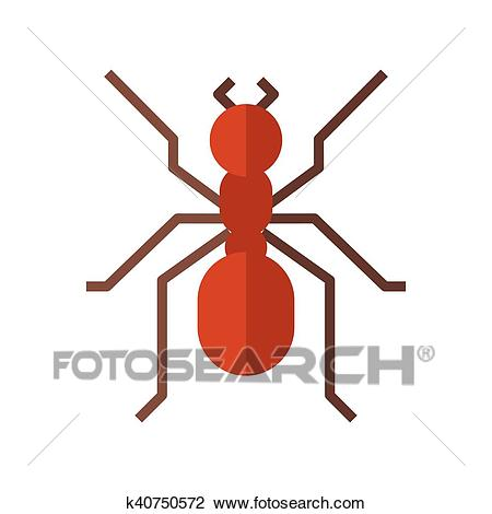 Red Ant Icon Clipart.