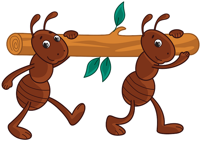 Two ants carrying a log clipart. Free download..