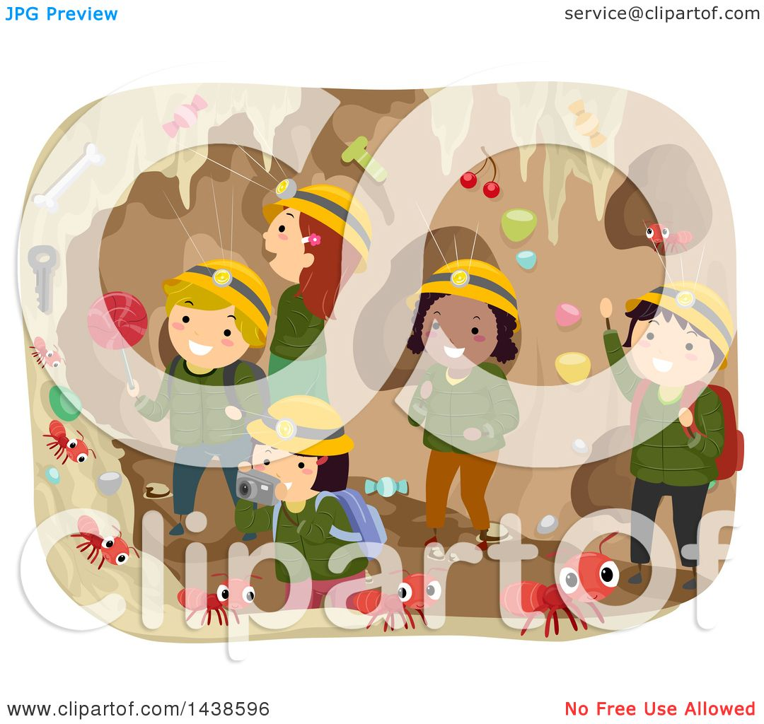 Clipart of a Group of School Children in an Ant Tunnel.