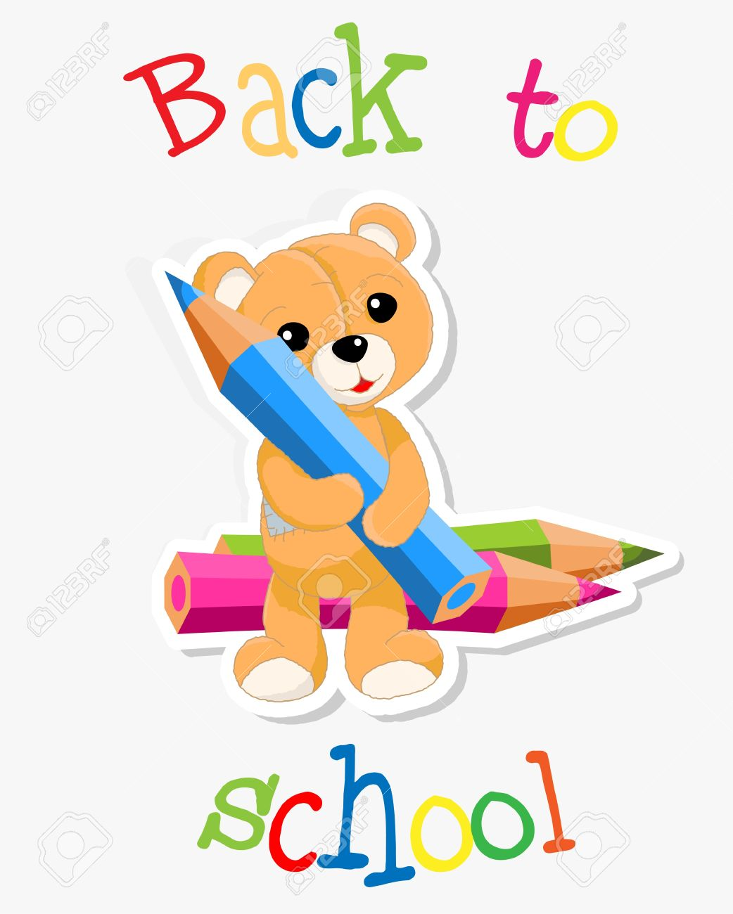 Brown Teddy With Crayons Ant Text Back To School , Vector.