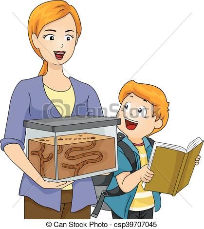 EPS Vector of Kid Boy Mom School Ant Farm Project.