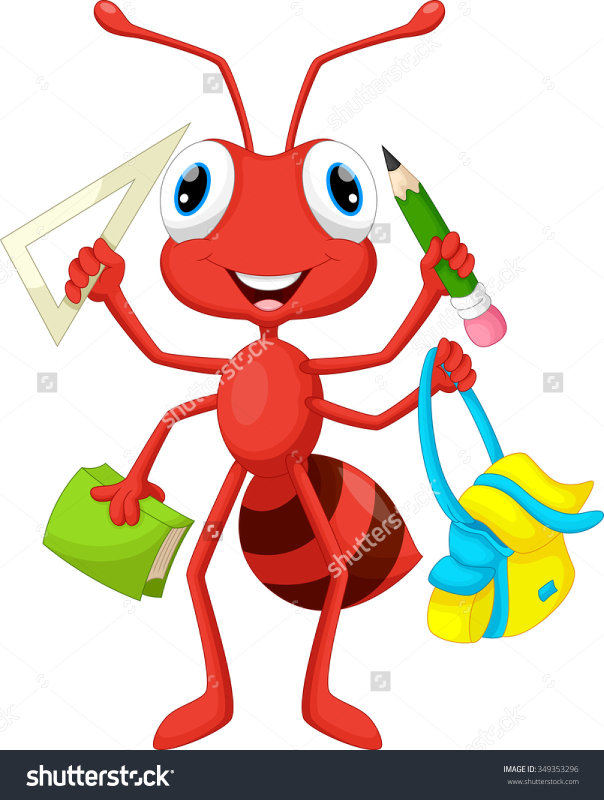 Ant School Supplies Stock Illustration 349353296.