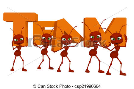 Stock Illustration of Teamwork, ants 3d cartoon.