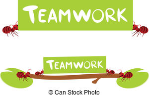 Clip Art Vector of Red ants teamwork illustration.