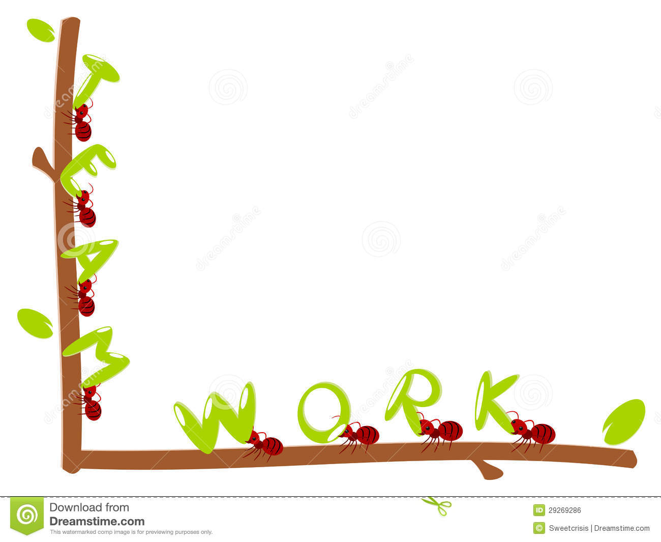 Red Ants Text Teamwork Illustration Royalty Free Stock Image.
