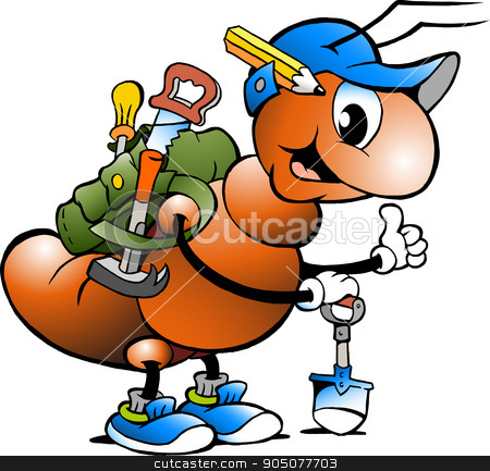 Vector Cartoon illustration of a Happy Working Ant stock vector.