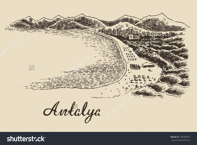 Antalya Skyline Big City Architecture Vintage Stock Vector.