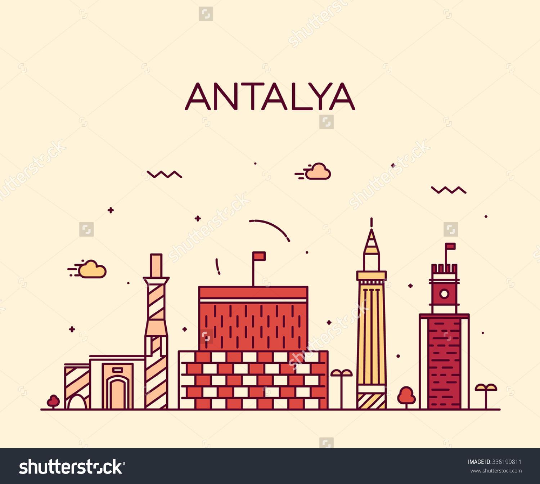 Antalya Skyline Detailed Silhouette Trendy Vector Stock Vector.