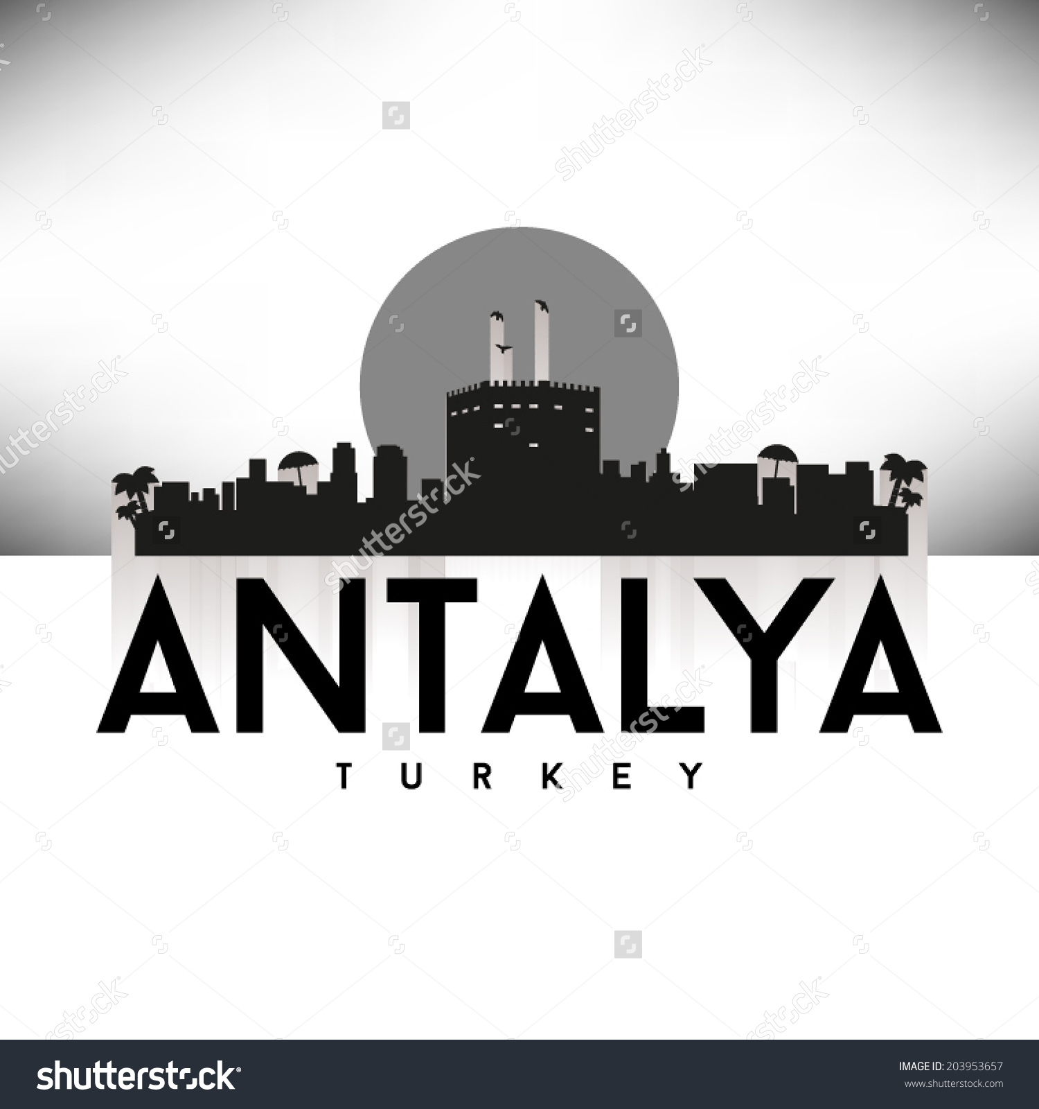 Antalya Turkey Skyline Silhouette Design Vector Stock Vector.