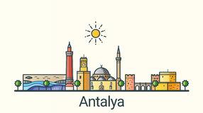 Antalya Skyline Vector Illustration Linear Style Stock Vector.