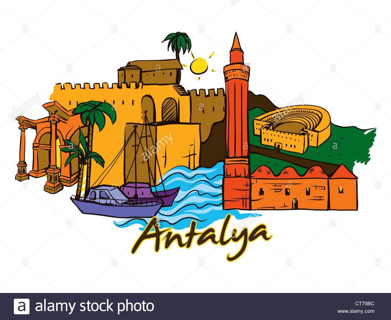 antalya doodles vector illustration Stock Photo, Royalty Free.