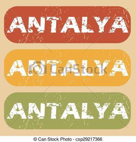 Clip Art Vector of Vintage Antalya stamp set.