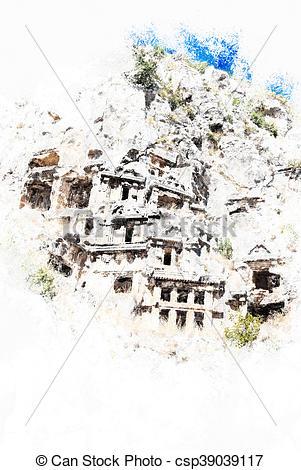 Clipart of ancient city of Myra, Antalya, Turkey. Vintage painting.