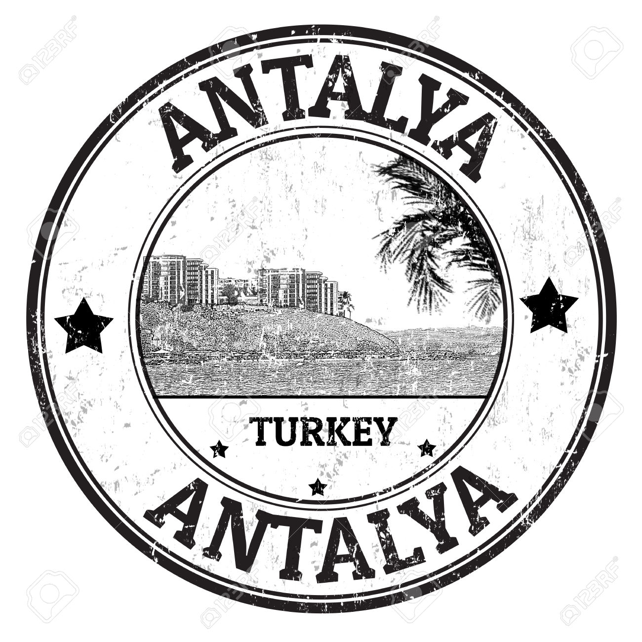Black Grunge Rubber Stamp With The Name Of Antalya City From.