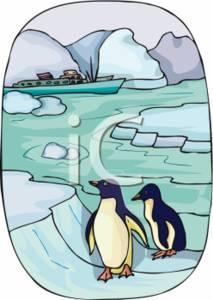 Clipart Illustration of Penguins In Antarctica.