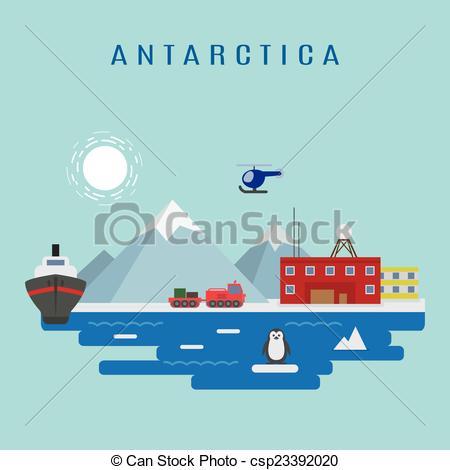 Vector Illustration of Antarctic landscape vector: Research.