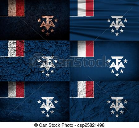 EPS Vectors of Flag of French Southern and Antarctic Lands with.