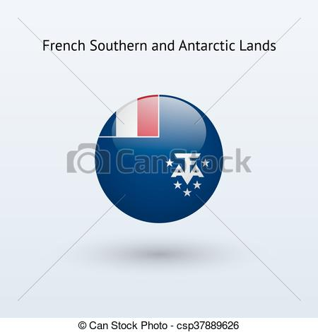 Vector Illustration of French Southern and Antarctic Lands round.