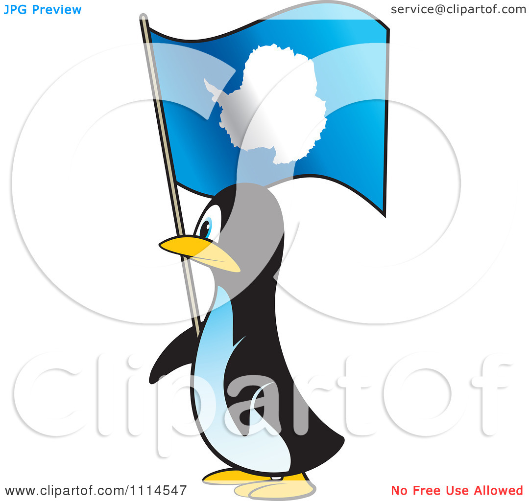Clipart Penguin In Profile With An Antarctica Flag.