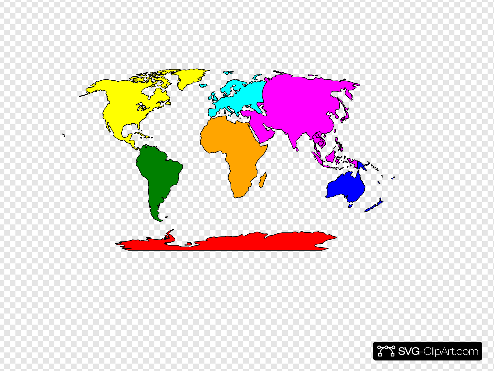 Simple Continents Map With Antarctica Clip art, Icon and SVG.