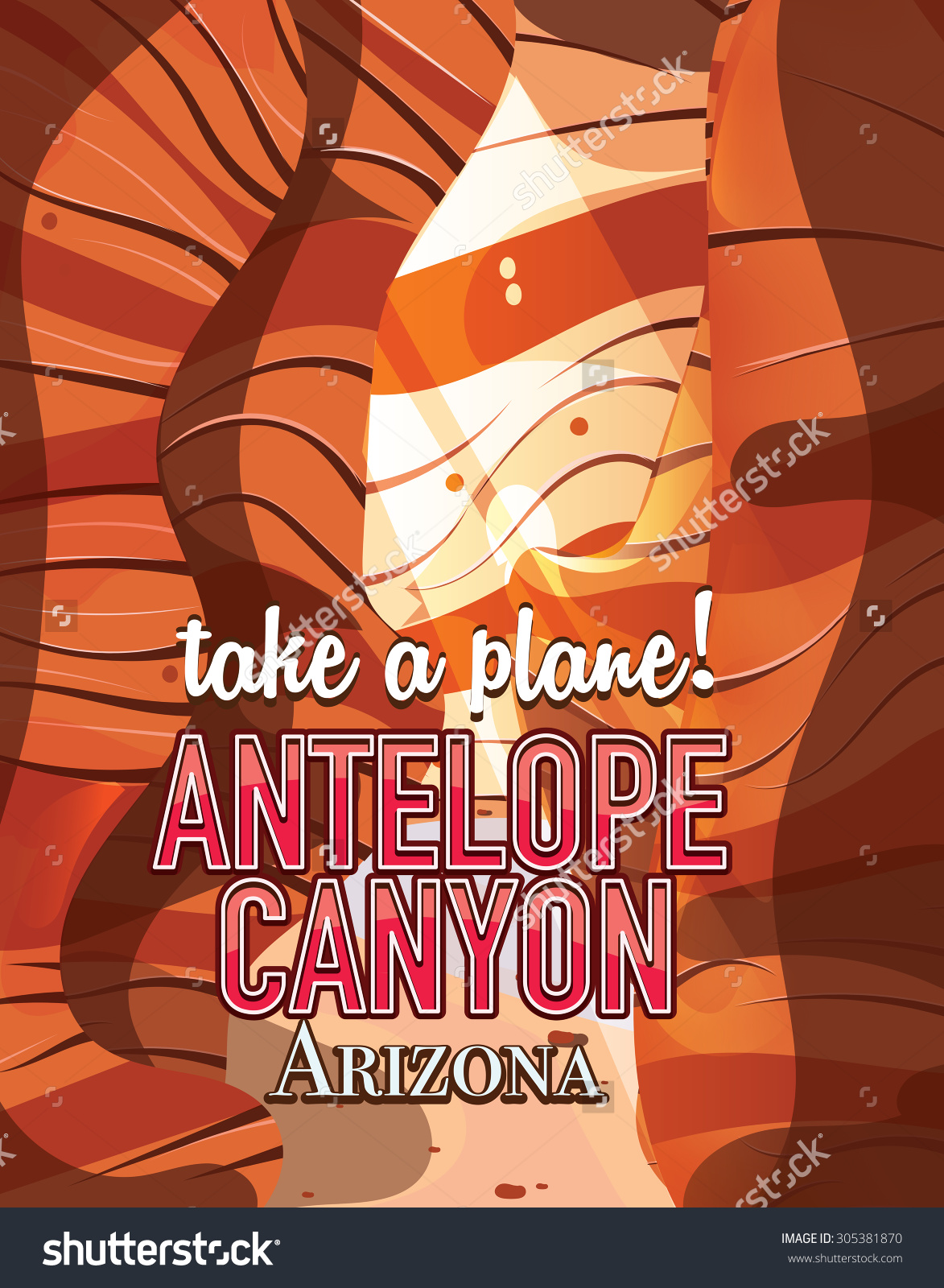Antelope Canyon Travel Poster Stock Illustration 305381870.