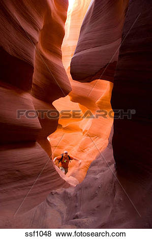 Pictures of Man hiking through the amazing Lower Antelope Canyon.